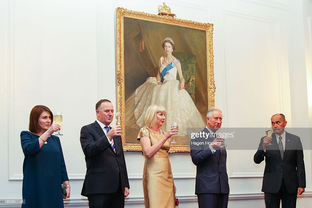 From left Bronagh Key Prime Minister John Key Lady Janine Mateparae Prince Charles Prince of Wales and GovernorGeneral Sir Jerry Mateparae make a...