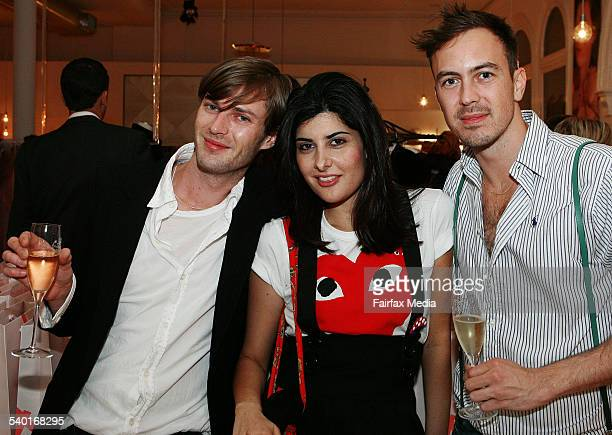 From left Cameron Peters Pia Xipolitas and Benja Harney at the Stella McCartney perfume launch at The Corner Shop Strand Arcade Sydney 16 October...