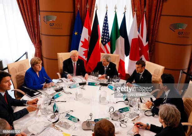 Canadian Prime Minister Justin Trudeau German Chancellor Angela Merkel US President Donald Trump Italian Prime Minister Paolo Gentiloni French...
