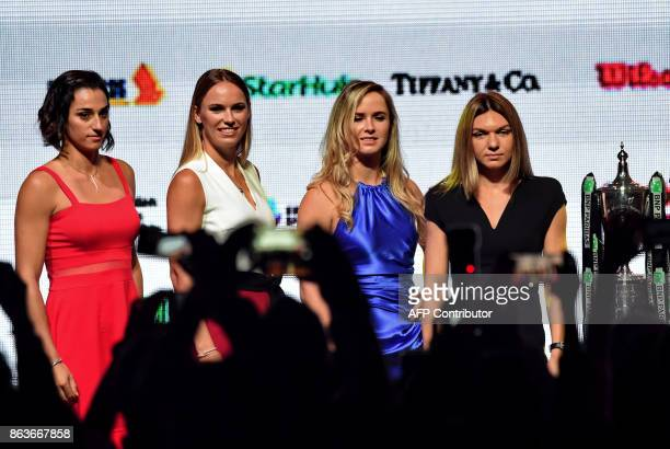From left Caroline Garcia of France Caroline Wozniacki of Denmark Elina Svitolina of Ukraine and Simona Halep of Romaniapose for photographers during...