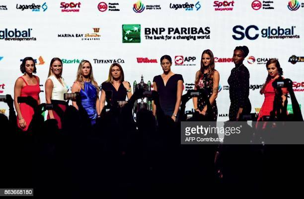 From left Caroline Garcia of France Caroline Wozniacki of Denmark Elina Svitolina of Ukraine Simona Halep of Romania Garbine Muguruza of Spain...