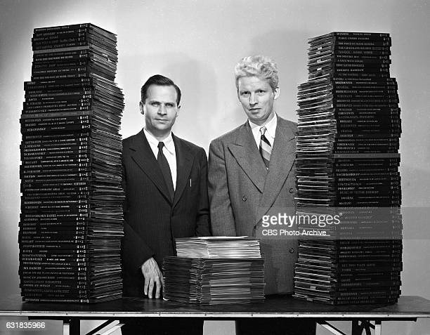 From left CBS chief engineer Dr Peter Carl Goldmark and sound engineer Rene Snepvangers display the benefits of Columbias long playing record the LPA...