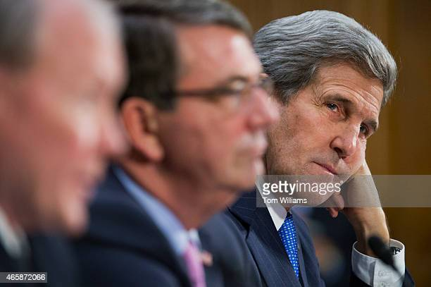 From left Chairman of the Joint Chiefs of Staff Gen Martin Dempsey Secretary of Defense Ashton Carter and Secretary of State John Kerry appear before...