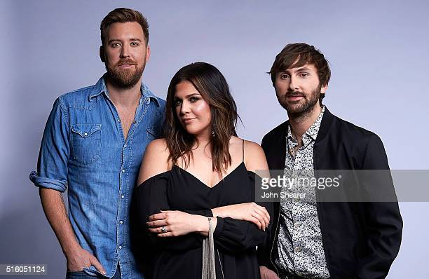 From left Charles Kelley Hillary Scott and Dave Haywood of musical group Lady Antebellum poses at The Life Songs of Kris Kristofferson produced by...