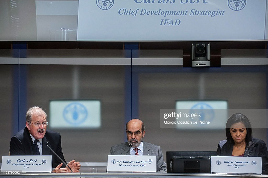 From left, Chief Development Strategist of IFAD, Carlos Sere, Director General of FAO, <a gi-track='captionPersonalityLinkClicked' href=/galleries/search?phrase=Jose+Graziano+da+Silva&family=editorial&specificpeople=7895234 ng-click='$event.stopPropagation()'>Jose Graziano da Silva</a> and Director of Operations of WFP, Torben Due present the new hunger report 2012 during a press conference, at the FAO headquarters on October 9, 2012 in Rome, Italy. In the the latest report on food insecurity, the UN agencies estimated that 868 million people were suffering hunger in 2010-2012 with one out of every eight people in the world chronically undernourished.