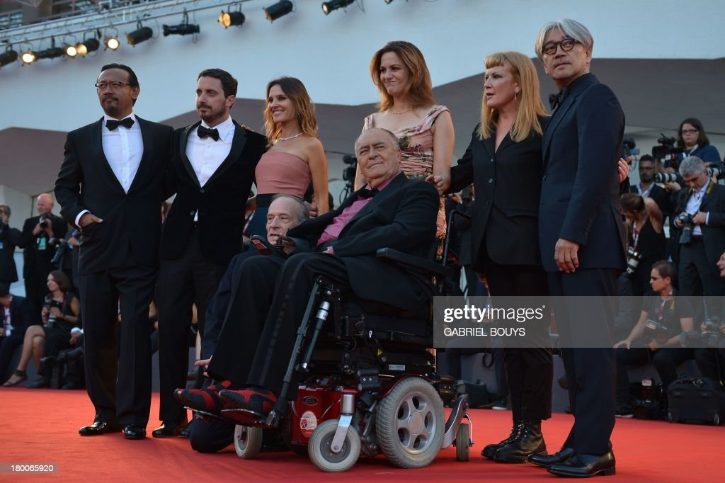 Chinese actor and director Jiang Wen, Chilean director, screenwriter and producer Pablo Larrain, French actress Virginie Ledoyen, German actress Martina Gedek, British director Andrea Arnold and Japanese composer, musician and producer Ryuichi Sakamoto, (front) Italian director and president of the jury Bernardo Bertolucci and Swiss French director of photography Renato Berta the award ceremony of the 70th Venice Film Festival on September 7, 2013 at Venice Lido.