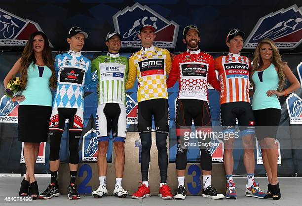 From left Clement Chevrier of France riding for the Bissell Development Team in the blue best young rider jersey Kiel Reijnen of the United States...