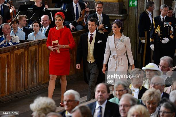 Crown Princess Maxima of the Netherlands Crown Prince Frederik of Denmark and Princess Madeleine of Sweden arrive on May 22 2012 for the christening...