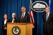 From left Cynthia Giles Assistant Administrator for EPA's Office of Enforcement and Compliance Assurance EPA Administrator Gina McCarthy US Attorney...