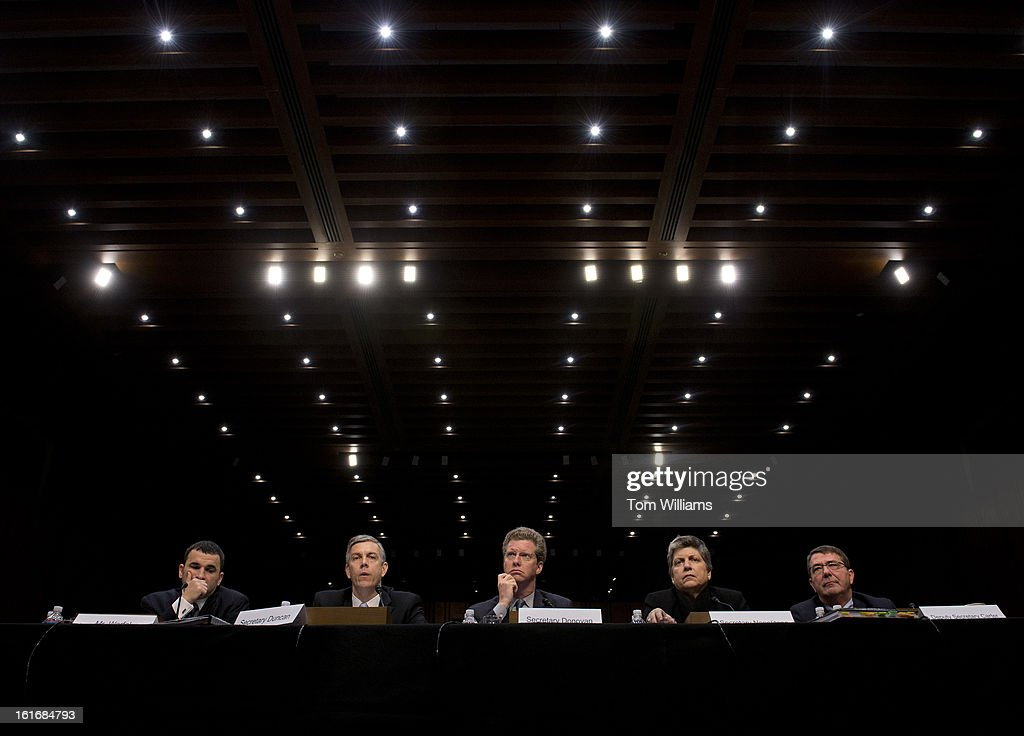 From left, Danny Werfel, federal controller, Office of Management and Budget, Education Secretary Arne Duncan, HUD Secretary Shaun Donovan, Homeland Security Janet Napolitano, and Deputy Defense Secretary Ashton Carter, prepare to testify before a Senate Appropriations Committee hearing in Hart Building on the impacts of the sequestration on their agencies.