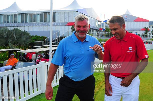 From left Darren Clarke Team Europe Captain and Jeev Milkha Singh Team Asia Captain pictured during the ProAm tournament ahead of Eurasia Cup 2016...