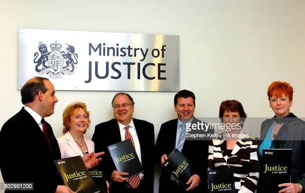 From left David Hanson Bridget Prentice Lord Falconer Gerry Sutcliffe Baroness Ashton and Vera Baird line up in front of a new Ministry of Justice...