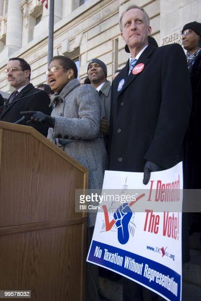 From left DC City Council chair Vincent Gray Rep Eleanor Holmes Norton DDC and DC City Council member Jack Evans participate in a voters rally on the...