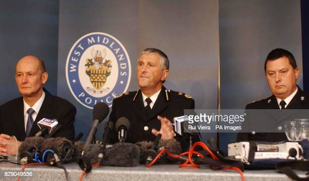 From left DCI Glenn Moss Chief Constable Paul Scott Lee and Chief Superintendent Tom Duffin of West Midlands Police hold a press conference on the...