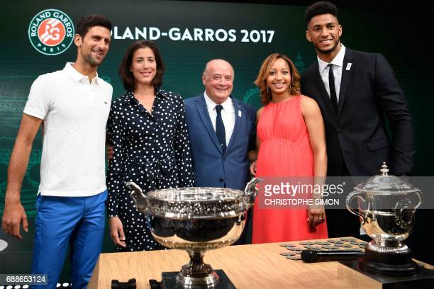 defending French Tennis Open male champion Serbian Novak Djokovic defending French Tennis Open female champion Spain's Garbine Muguruza President of...