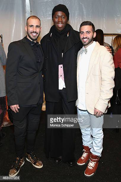 From left designer Idan Cohen J Alexander and Elad Borenstein pose backstage at the Idan Cohen fashion show during MercedesBenz Fashion Week Fall...