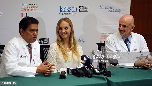 From left Dileep R Yavagal MD Chief of UHealth Interventional Neurology stroke survivor Isabel Vinueza and Jose Romano MD Chief of the UHealth Stroke...