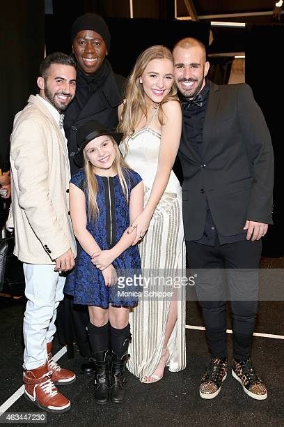 From left Elad Borenstein J Alexander actresses Maisy Stella and Lennon Stella and designer Idan Cohen pose backstage at the Idan Cohen fashion show...