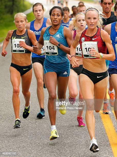 From left elite women runners Jordan Hasay Aselefech Mergia Gemma Steel and Shalene Flanagan lead a pack at about the halfway point of the 17th...