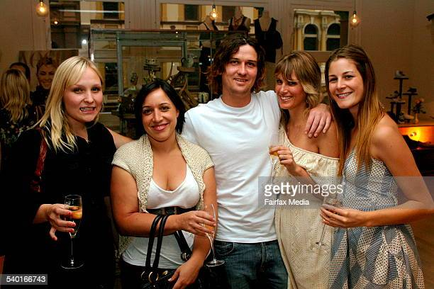 From left Elizabeth Bregenhoj Anna Mags Darren Kaehne Amy Webster and Annika Burgess at the Sass Bide denim launch at the Corner Shop in the Strand...