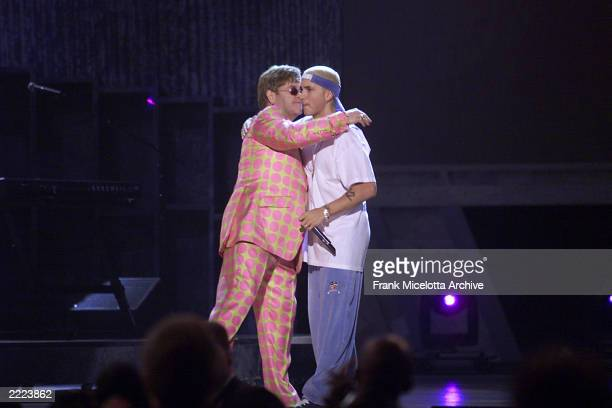 From left Elton John and Eminem at The 43rd Annual Grammy Awards at The Staples Center Los Angeles CA Feb 21 2001