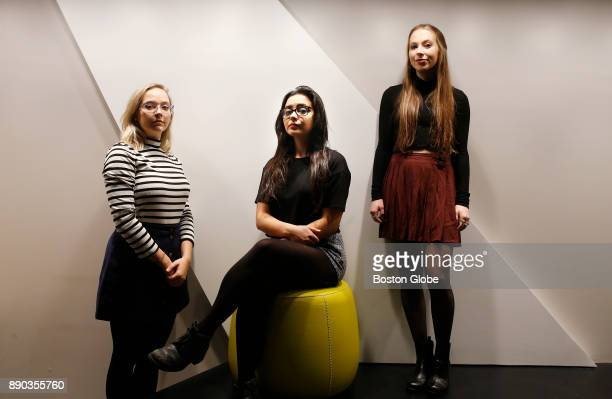 From left Emerson College students Jacquelyn Ferzacca Liza Wagner and Emily Kramer pose for a portrait at the school in Boston on Nov 15 2017 As...