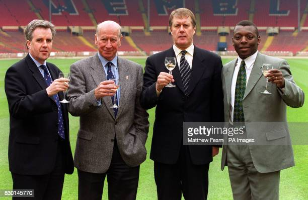 England 2006 Campaign Director Alec McGiven Sir Bobby Charlton CBE Sir Geoff Hurst MBE and former footballer and BBC Sport pundit Garth Crooks at...