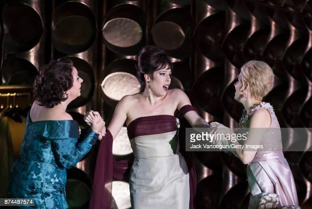 From left English mezzosoprano Christine Rice American soprano Audrey Luna and English soprano Sally Matthews perform at the final dress rehearsal...