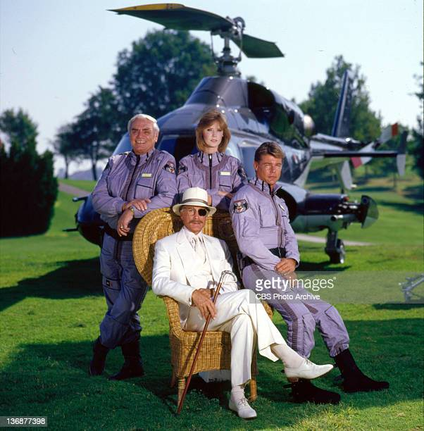 from left Ernest Borgnine Jean Bruce Scott JanMichael Vincent and seated Alex Cord in AIRWOLF 1985 Jean Bruce Scott and JanMichael Vincent on AIRWOLF