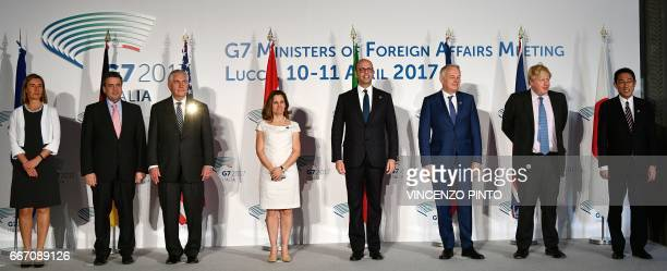 EU High Representative for Foreign Affairs and Security Policy Federica Mogherini German Foreign Minister Sigmar Gabriel US Secretary of State Rex...