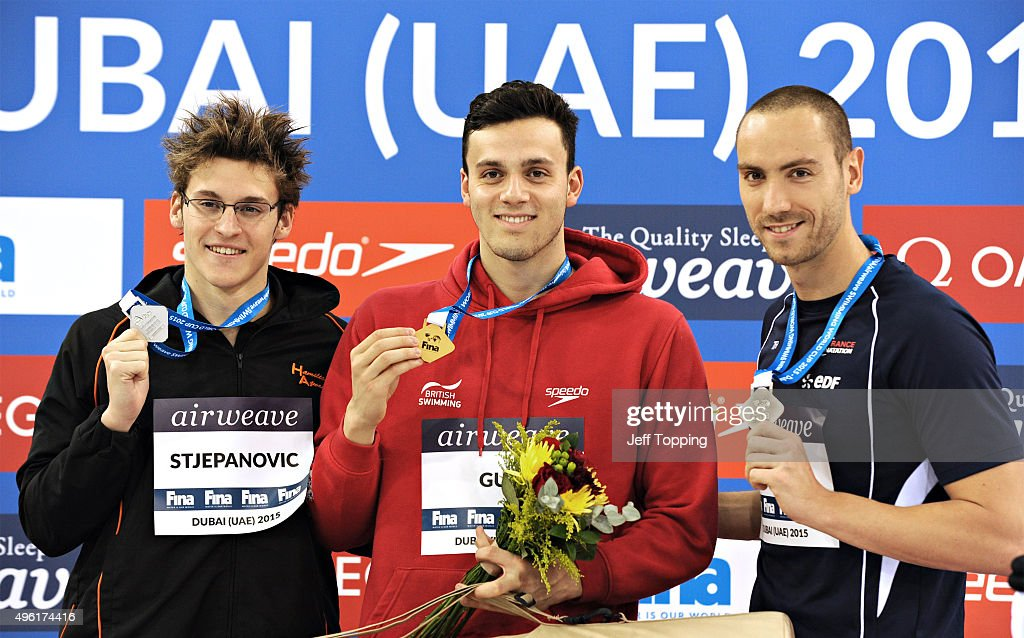 From left FINA Swimming World Cup 2015 men's 200 meter Freestyle medal winners Velimir Stjepanovic, of Serbia, silver, <a gi-track='captionPersonalityLinkClicked' href=/galleries/search?phrase=James+Guy+-+Swimmer&family=editorial&specificpeople=14923532 ng-click='$event.stopPropagation()'>James Guy</a>, of Great Britain, gold and <a gi-track='captionPersonalityLinkClicked' href=/galleries/search?phrase=Jeremy+Stravius&family=editorial&specificpeople=5944687 ng-click='$event.stopPropagation()'>Jeremy Stravius</a>, of France, bronze. The two day event was held at the Hamdan Sports Complex November 6 and 7, 2015 in Dubai, United Arab Emirates.