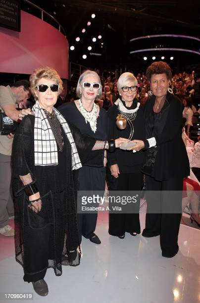From left Franca Fendi Anna Fendi Paola Fendi and Carla Fendi attend Premio Belisario 2013 at Dear RAI studios on June 20 2013 in Rome Italy