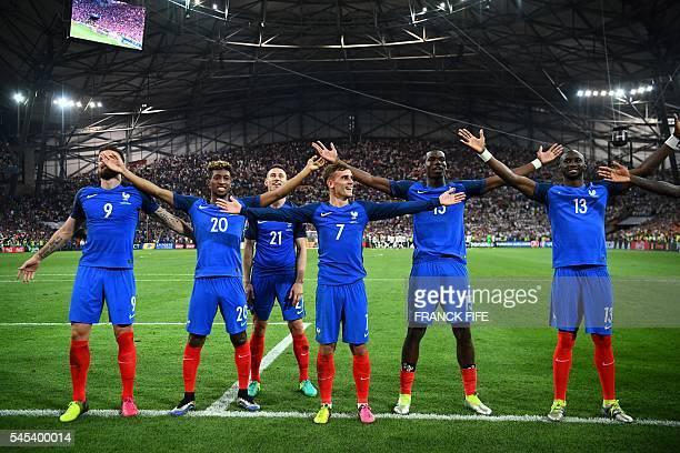 France's forward Olivier Giroud forward Kingsley Coman defender Laurent Koscielny forward Antoine Griezmann midfielder Paul Pogba and defender...