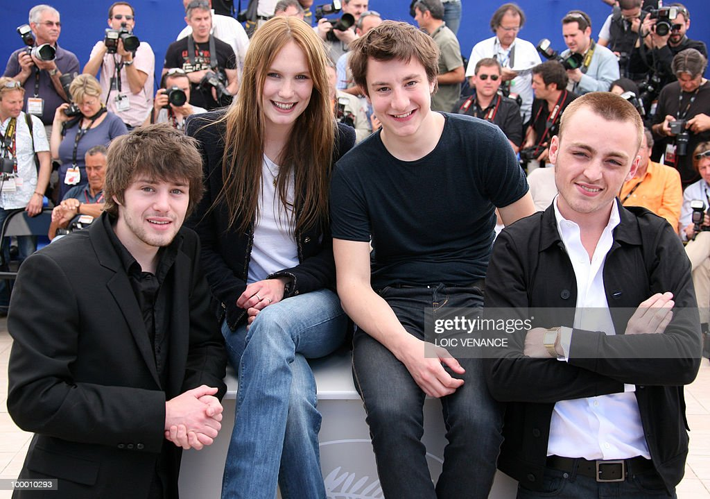 French actor Laurent Delbecque, French actress Ana Girardot, French actor Arthur Mazet and French actor Jules Pelissier pose during the photocall 'Simon Werner a Disparu' (Lights Out) presented in the Un Certain Regard selection at the 63rd Cannes Film Festival on May 20, 2010 in Cannes.