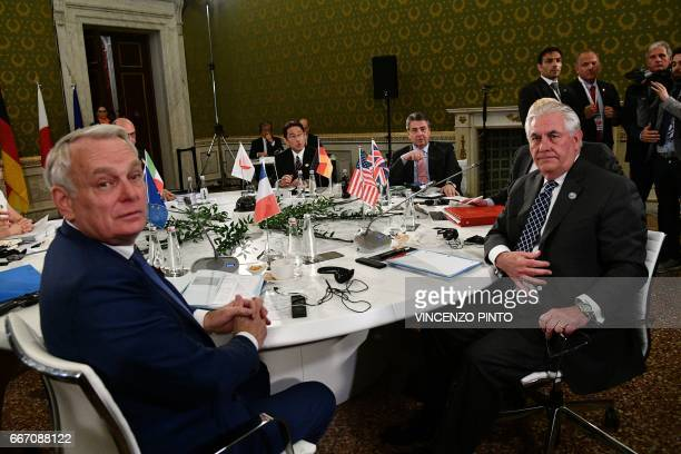French Foreign Minister JeanMarc Ayrault Japanese Foreign Minister Fumio Kishida German Foreign Minister Sigmar Gabriel and US Secretary of State Rex...