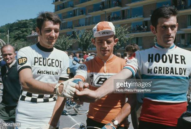 From left French professional road race cyclists Robert Bouloux of the PeugeotBPMichelin team Desire Letort of the Bic team and Yves Ravaleu of the...