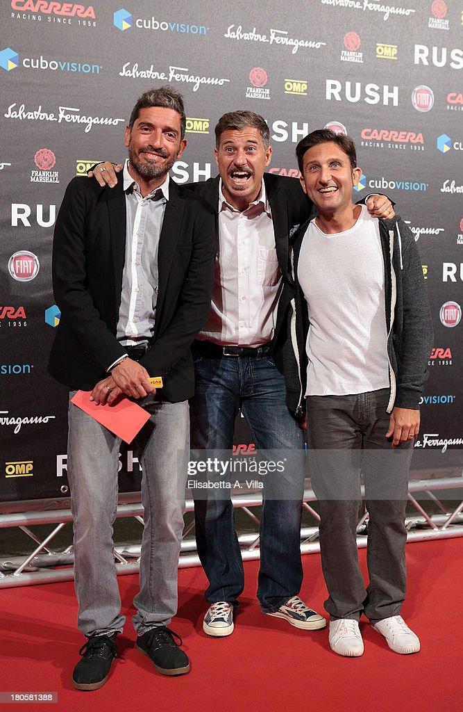 From left, Furio Corsetti, Gabriele Corsi and <a gi-track='captionPersonalityLinkClicked' href=/galleries/search?phrase=Giorgio+Maria+Daviddi&family=editorial&specificpeople=6380133 ng-click='$event.stopPropagation()'>Giorgio Maria Daviddi</a> aka Trio Medusa attend the 'Rush' premiere at Auditorium della Conciliazione on September 14, 2013 in Rome, Italy.