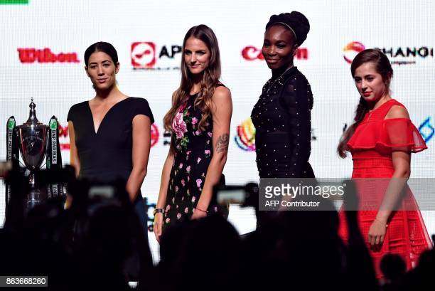 From left Garbine Muguruza of Spain Karolina Pliskova of Czech Republic Venus Williams of the United States and Jelena Ostapenko of Latvia pose for...