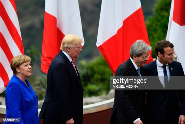 German Chancellor Angela Merkel US President Donald Trump Italian Prime Minister Paolo Gentiloni and French President Emmanuel Macron arrive for a...