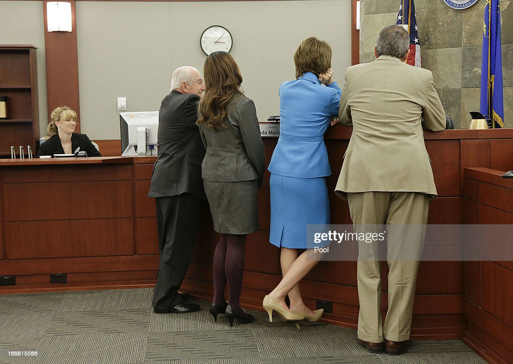 From left, H. Leon Simon, chief deputy Clark County district attorney, deputy Clark County district attorney Leah Beverly, defense attorney Patricia Palm and co-counsel Ozzie Fumo address Judge Linda Marie Bell during an evidentiary hearing for O.J. Simpson in Clark County District Court May 15, 2013 in Las Vegas, Nevada. Simpson, who is currently serving a nine to 33-year sentence in state prison as a result of his October 2008 conviction for armed robbery and kidnapping charges, is using a writ of habeas corpus to seek a new trial, claiming he had such bad representation that his conviction should be reversed.