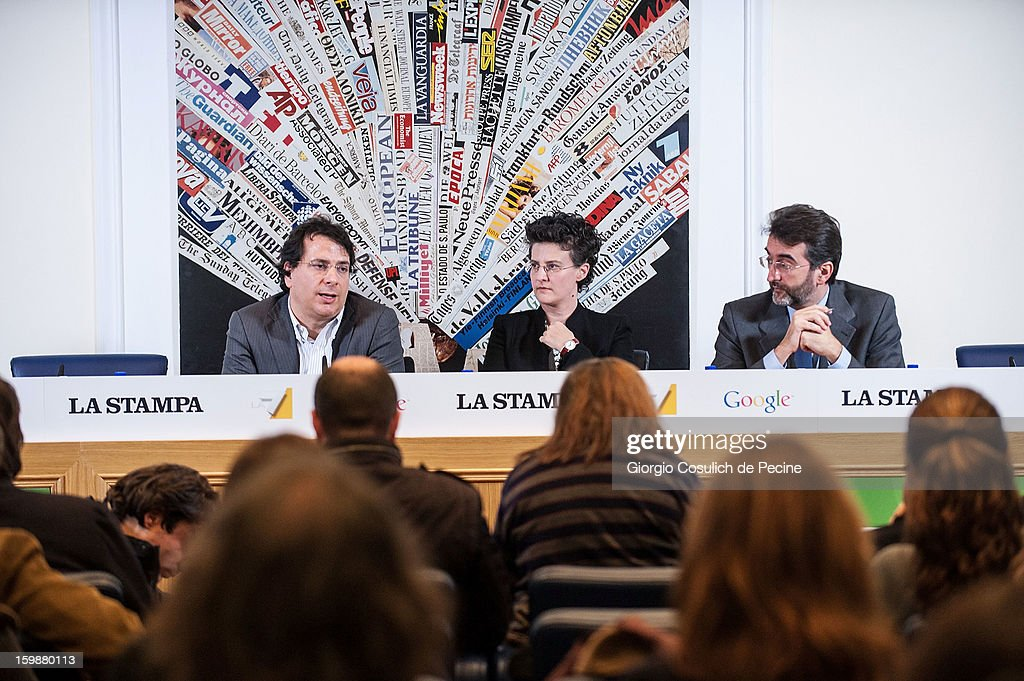 From left, Head of multimedia for TV channel La7, Gianluca Visalli, Director of Communications and Public Affairs of Google Italy, Simona Panseri and digital editor for La Stampa, Marco Bardazzi attend the press conference for the presentation of Google Elections 2013 on January 22, 2013 in Rome, Italy. The Google platform elections, organized in collaboration with the newspaper La Stampa and the TV channel La7, brings for the first time in Italy a new model of citizen participation on the web, which has already been successfully tested by Google in elections in the U.S., in France, Germany and other countries of the world.
