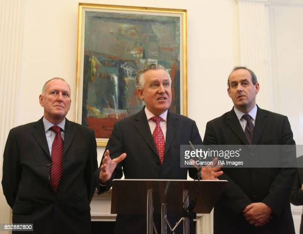 From left Health Minister Paul Goggins Secretary of State for Northern Ireland Peter Hain and Northern Ireland Criminal Justice Minister David Hanson...