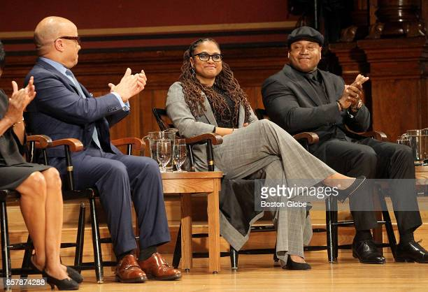 From left honorees Darren Walker Ava Duvernay and LL Cool J are pictured during the W E B Du Bois Medal Ceremony at the fifth annual Hutchins Center...