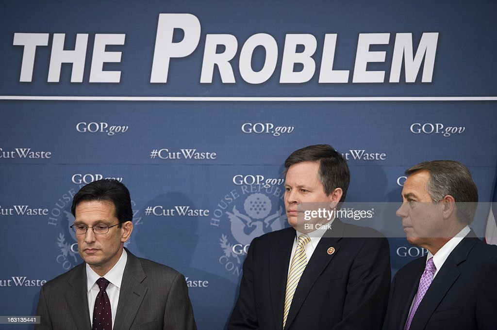 From left, House Majority Leader Eric Cantor, R-Va., Rep. Steve Daines, R-Mont., and Speaker of the House John Boehner, R-Ohio, listen as other members of the House GOP caucus speak during the media availability following the House Republican Conference meeting in the Capitol on Tuesday, March 5, 2013.