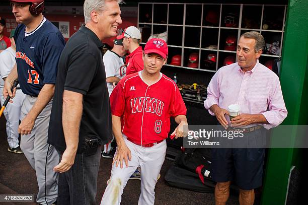 From left House Majority Leader Kevin McCarthy RCalif Sen Rand Paul RKy and Speaker John Boehner ROhio talk before the 54th Congressional Baseball...