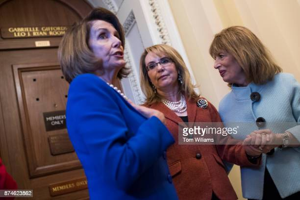 From left House Minority Leader Nancy Pelosi DCalif former Rep Gabrielle Giffords DAriz and Rep Jackie Speier DCalif pose outside the House...