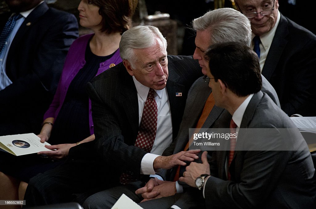 From left, House Minority Whip Steny Hoyer, D-Md., Majority Whip Kevin McCarthy, R-Calif., and Majority Leader Eric Cantor, R-Va., confer during a memorial service for the late Speaker of the House Tom Foley in the Capitol's Statuary Hall.
