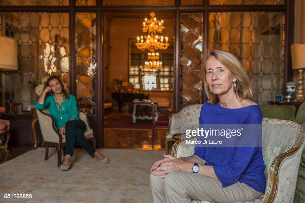 From left Isabella and Ketti Alverà Castagna are seen in the salon of the main floor of their building on the Grand Canal on June 30 2015 in Venice...