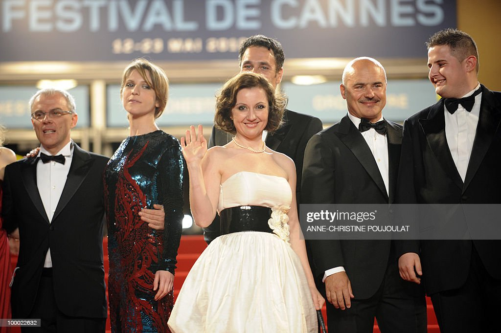 Italian actor Elio Germano, Italian actress Isabella Ragonese, Italian actress Alina Berzenteanu, Italian actor Raoul Bova, Italian actor Luca Zingaretti and Italian actor Marius Ignat arrive for the screening of 'La Nostra Vita' (Our Life) presented in competition at the 63rd Cannes Film Festival on May 20, 2010 in Cannes.