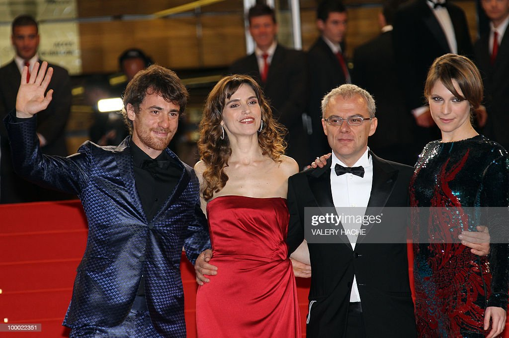 Italian actor Elio Germano, Italian actress Stefania Montorsi, Italian director Daniele Luchetti and Italian actress Isabella Ragonese arrive for the screening of 'La Nostra Vita' (Our Life) presented in competition at the 63rd Cannes Film Festival on May 20, 2010 in Cannes.